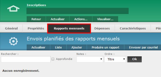 """6 - Cliquez sur l'onglet """"Rapports mensuels"""" en haut de page pour accéder à la section des rapports"""