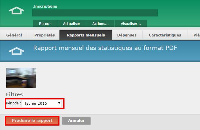 """2 - Choisissez la période pour laquelle vous désirez obtenir les statistiques puis cliquez sur """"Produire le rapport"""""""